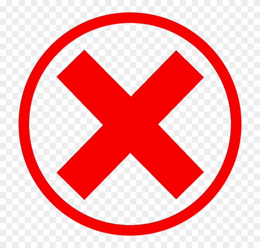 Red Cross Mark Clipart Green Checkmark - Red X In Circle, HD