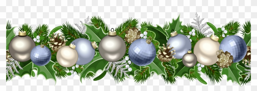 5000 X 1536 25 0 Blue Christmas Garland Clipart Hd Png Download