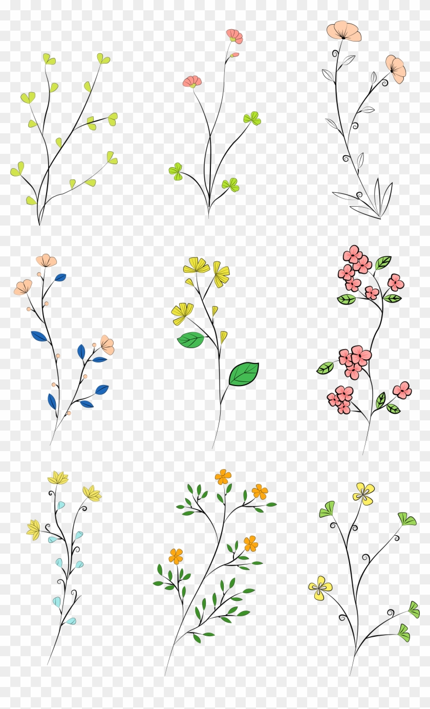 Hand Drawn Leaves Colored Plants Png And Vector Image, Transparent ...