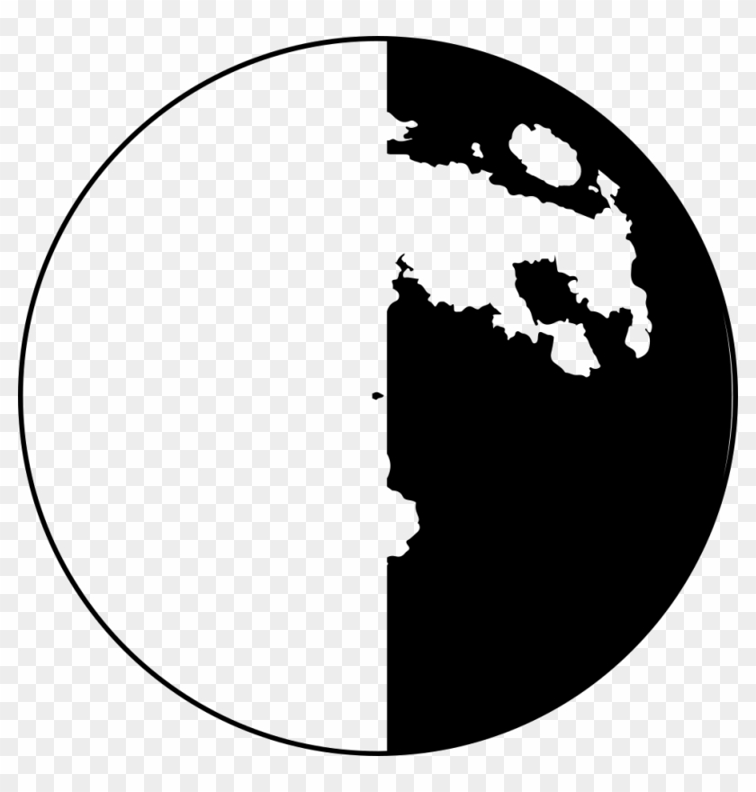 Half Moon Phase Symbol Comments - Moon Craters Black White