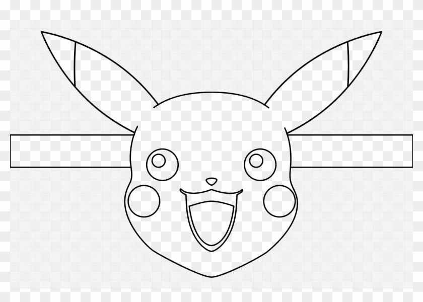 Pikachu Face Mask Blank For Colouring - Monochrome, HD Png ...