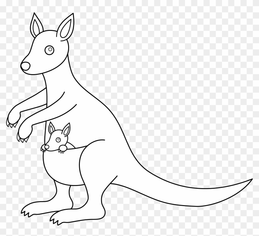 X white. Kangaroo clipart black