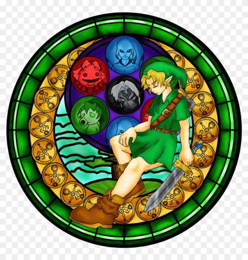 Majora's Mask Window - Stained Glass Artwork Zelda, HD Png