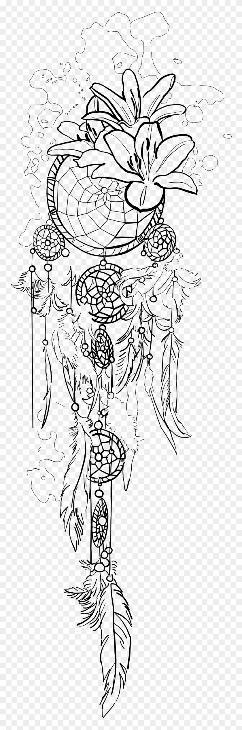 e5670f91360a0 Picture Download Hard Drawing Dream Catcher - Dream Catcher Spine Tattoo,  HD Png Download