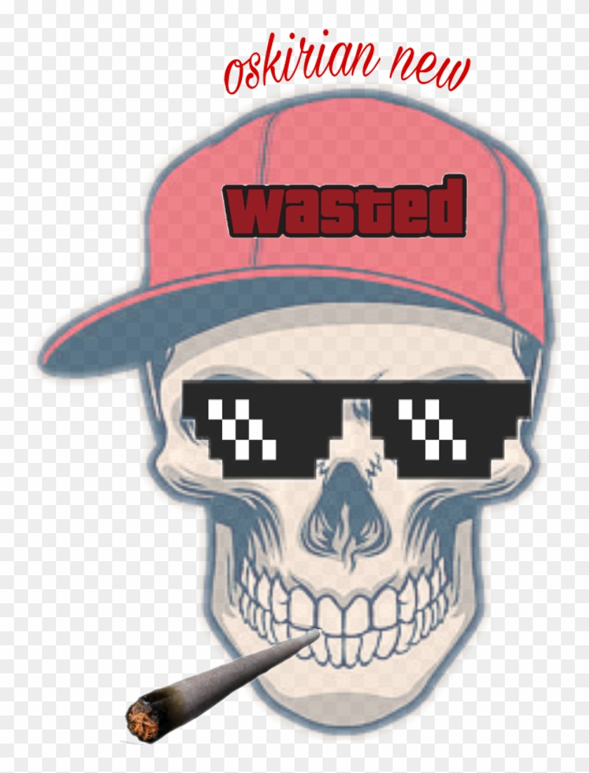 Mlg Sticker - Cartoon Skull With Hat, HD Png Download - 1024x1024