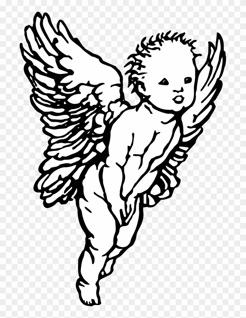 Black and white angel drawing at getdrawings angel cherub drawing simple hd png download