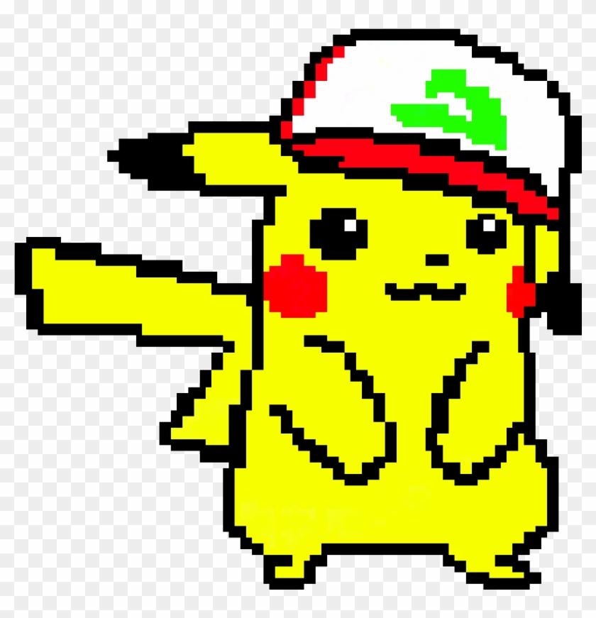 Cute Pikachu Wearing Ash S Hat Pixel Art Minecraft Pe