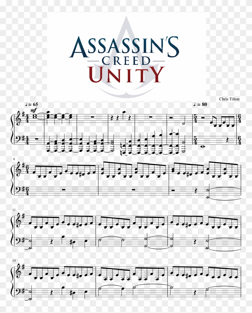 Assassin's Creed Unity - Sheet Music, HD Png Download - 850x1100