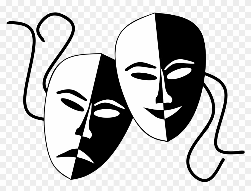 Theatre Masks Clip Art Onlinelabels Clip Art Tragedy - Comedy And