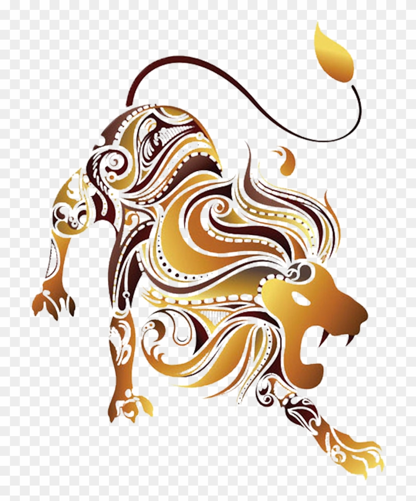 Astrology Signs Clipart Art Deco - Zodiac Signs Animals Leo