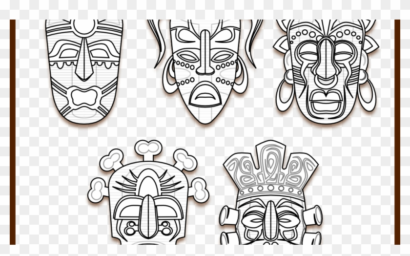 photo relating to Tiki Mask Printable identified as Tiki Mask Template - Tribal Tiki Mask, High definition Png Down load