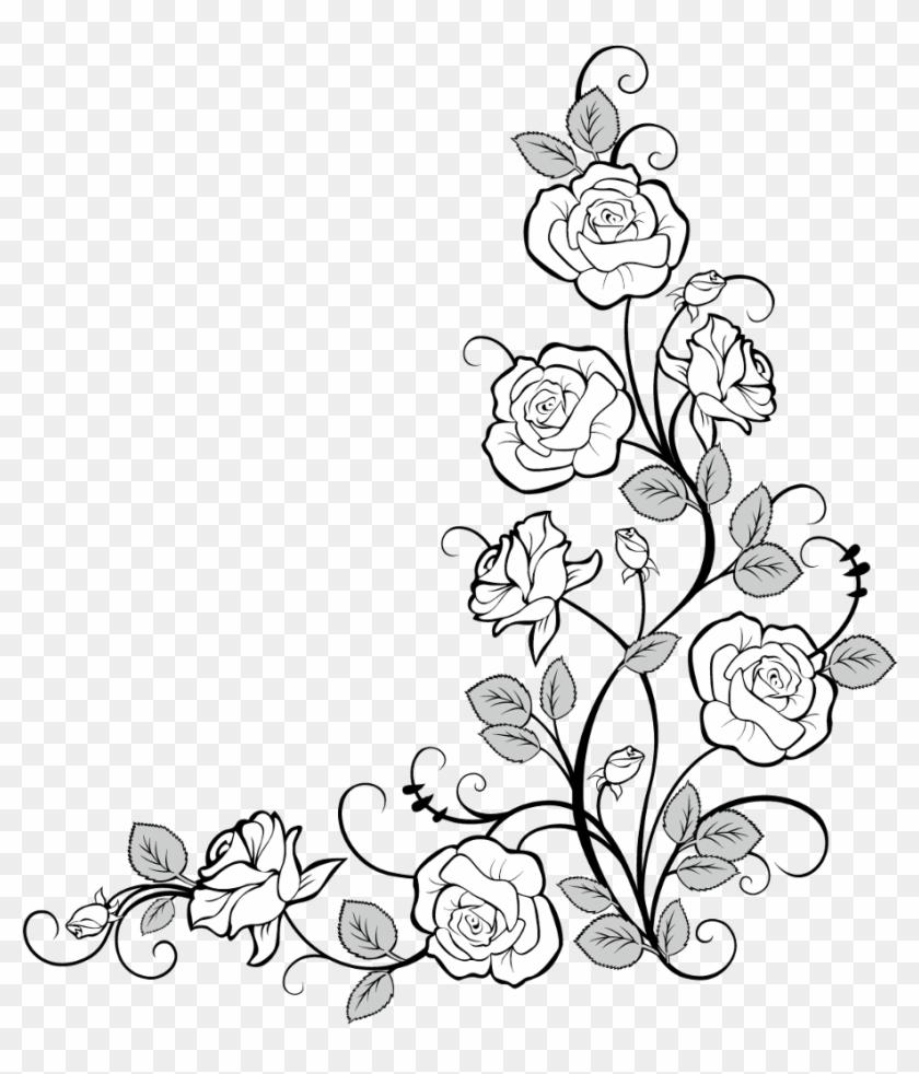 Frames Frame Corner Corners Borders Border Roses Flower Vine Border Drawing Hd Png Download 1024x1079 1308674 Pngfind