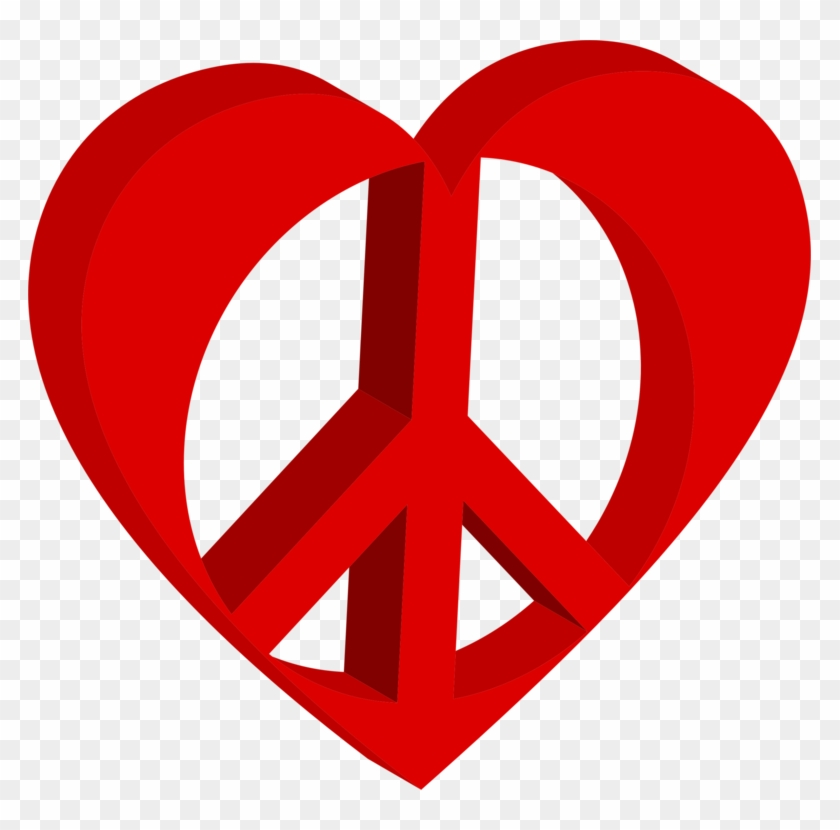 Hand Heart Peace Symbols Sign - Heart, HD Png Download - 783x750