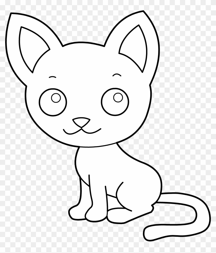 Pink Cat Cliparts - Cat Clipart Coloring Page, HD Png Download ...