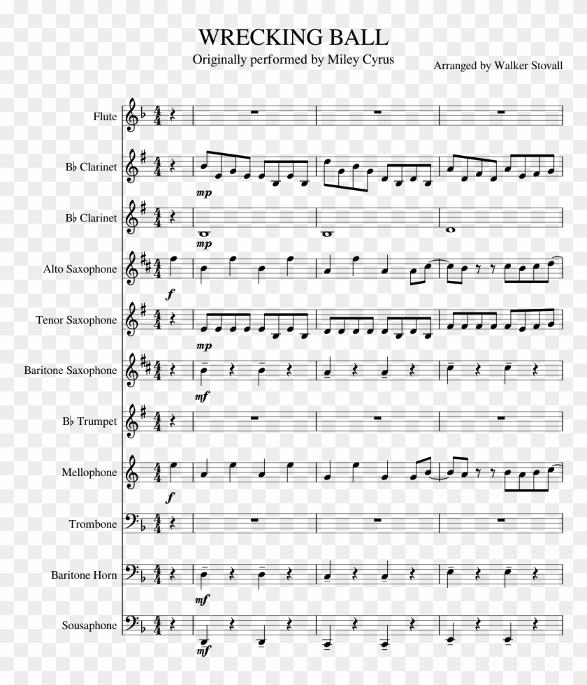Wrecking Ball Sheet Music Composed By Arranged By Walker - Super