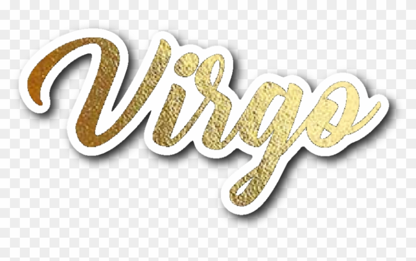 Virgo Gold Lettering Vinyl Sticker - Calligraphy, HD Png Download