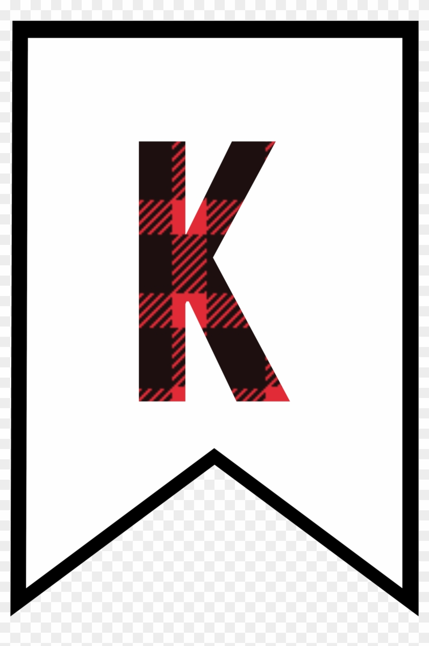 photograph about Letter M Printable referred to as K Buffalo Plaid Banner Letter - Printable Letter M Banner