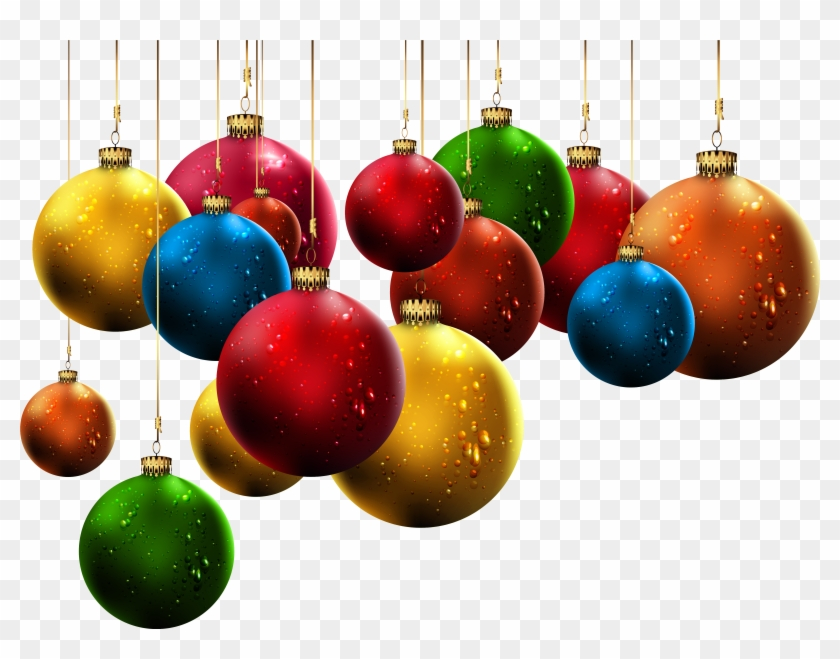 Hanging Christmas Balls Clip - Hanging Christmas Decorations Png, Transparent Png