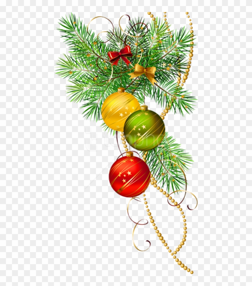 Christmas Branch Png.Free Png Three Christmas Balls With Pine Branch Png