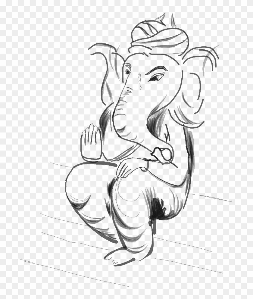 Drawing Ganesha Cartoon Sketch Hd Png Download 768x938 1459983 Pngfind