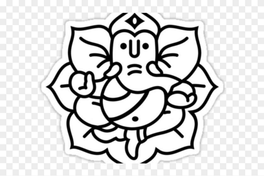 Drawing Ganesh With Flower Hd Png Download 640x4801464213