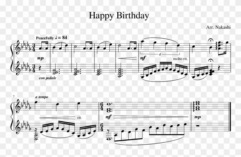 Happy Birthday Sheet Music Composed By Arr - Iphone Marimba