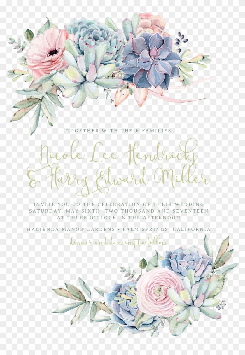 Sweet Succulents Wedding Invitation, Succulent Wedding, - Wedding