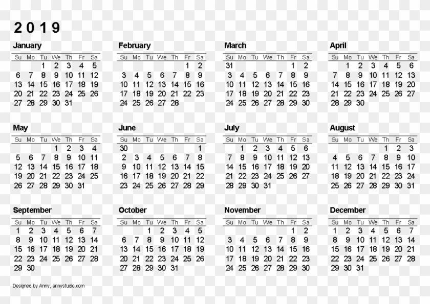 picture relating to Printable 12 Month Calendar referred to as 2019 Calendar Absolutely free Obtain Png - 12 Thirty day period Cost-free Printable