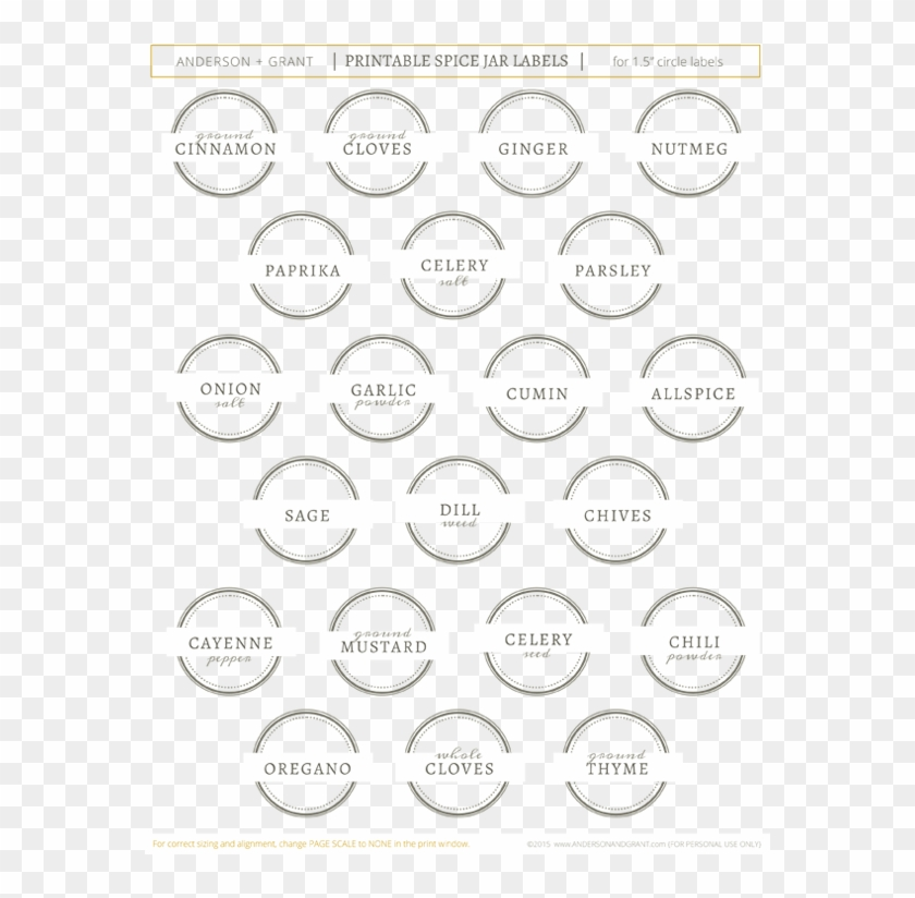picture about Free Printable Spice Labels named Absolutely free Printable Spice Jar Labels - Circle, High definition Png Obtain