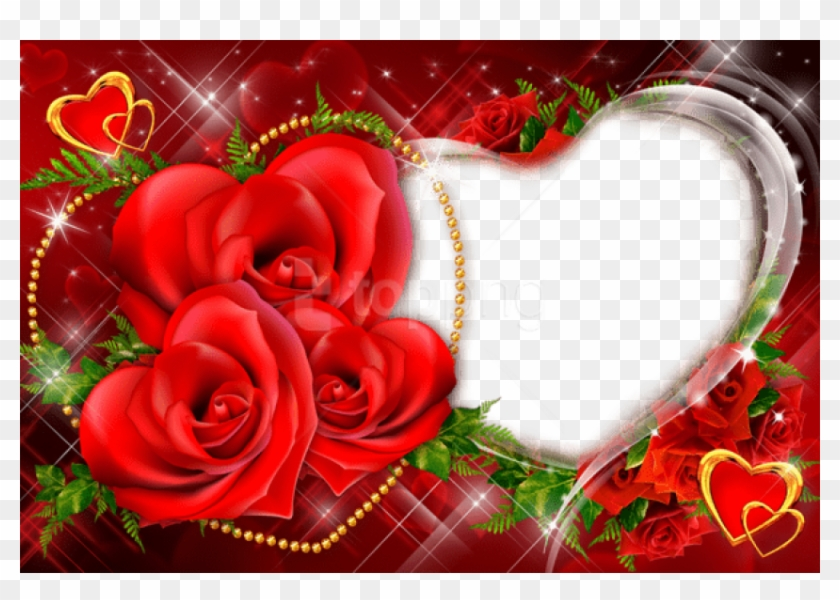 Free Png Transparent Red Roses Heart Frame Background - Love