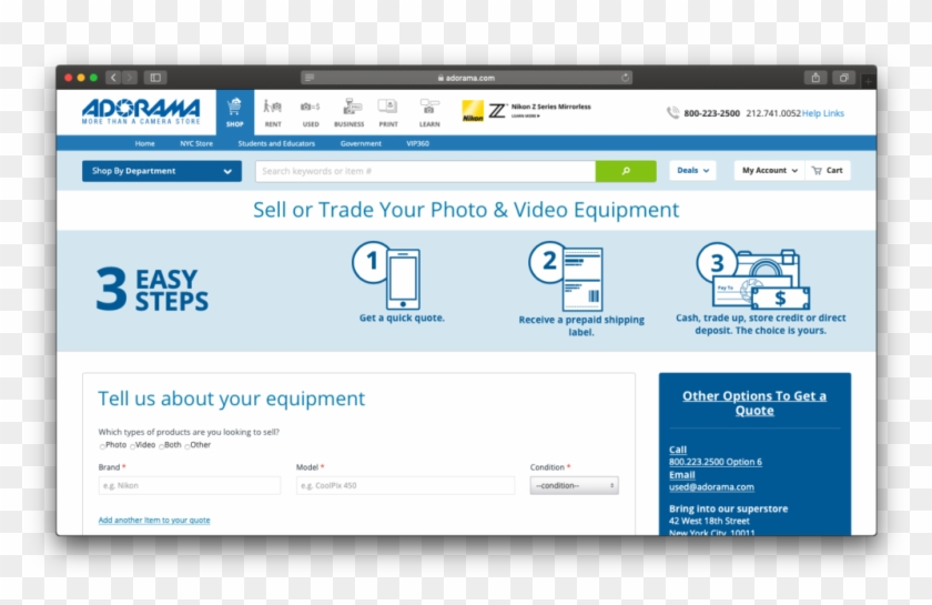Sell Or Trade Camera Gear On Adorama - Adorama, HD Png