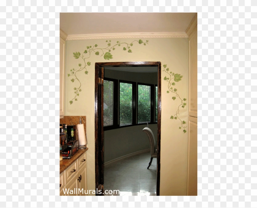Painted Ivy On Wal In Kitchen Window Borders Wall Painting Designs