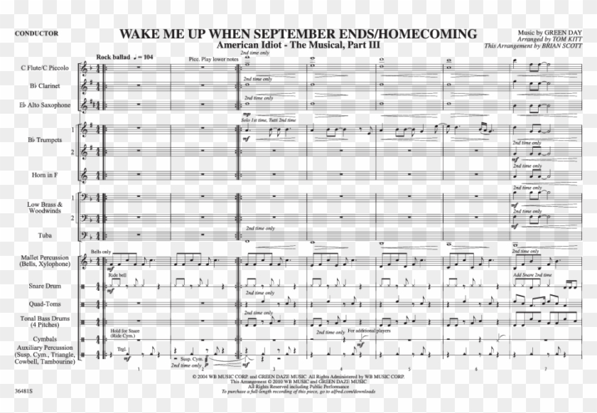 Wake Me Up When September Ends Homecoming Thumbnail Sheet Music Hd Png Download 1056x816 1596240 Pngfind