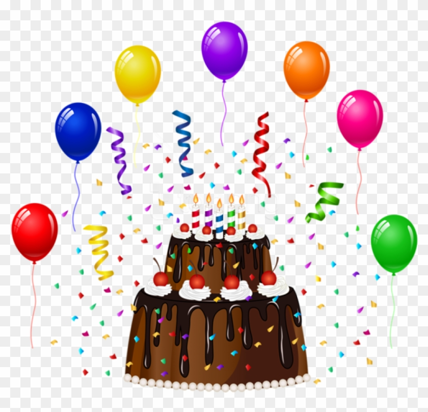 Swell Free Png Download Birthday Cake With Confetti And Balloons Cake Personalised Birthday Cards Veneteletsinfo