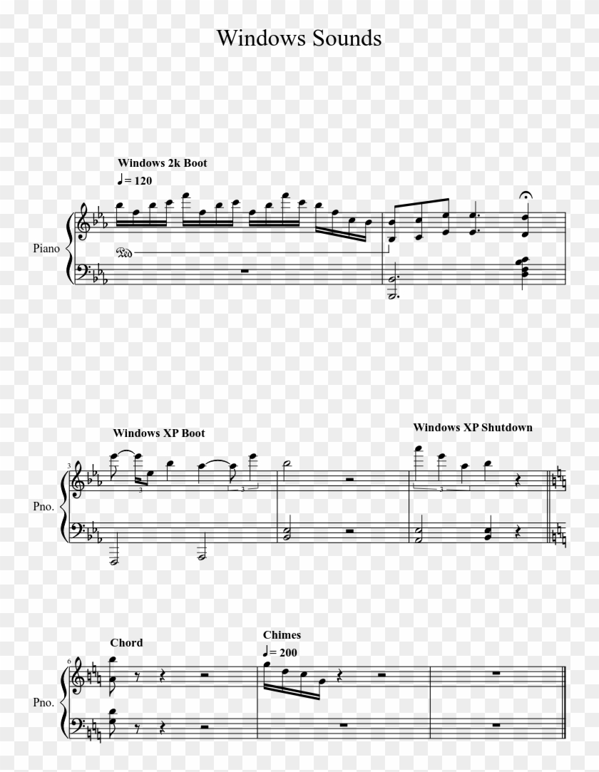 Windows Sounds Sheet Music 1 Of 1 Pages - Windows Xp Startup