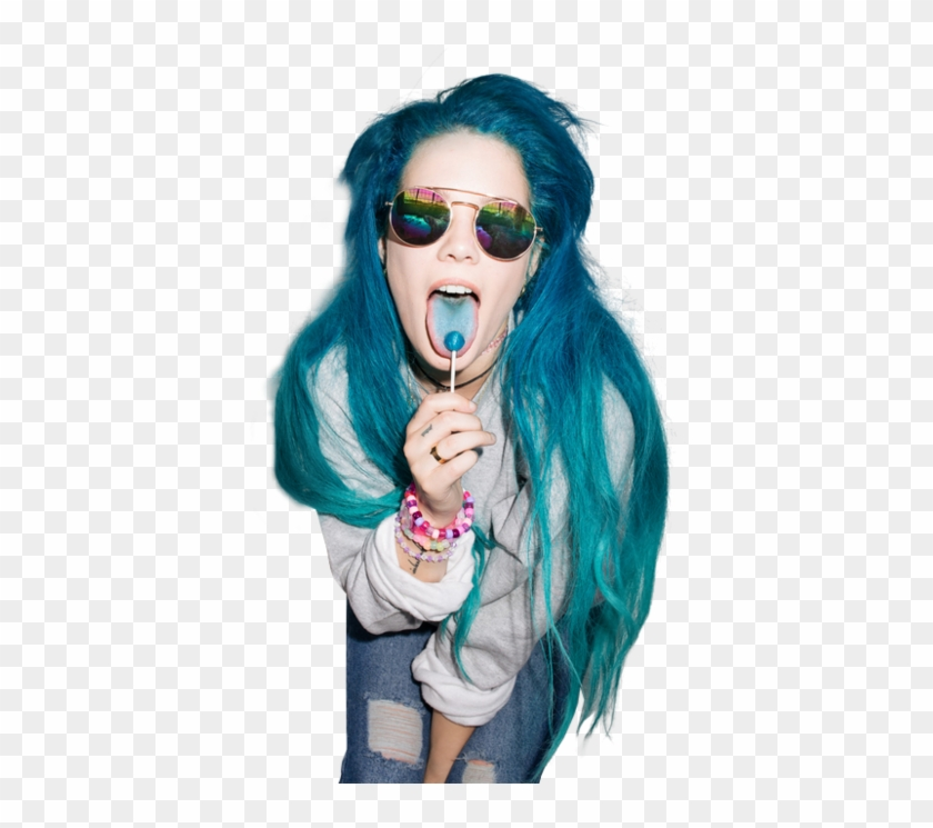 Halsey Blue And Hair Image Halsey Blue Hair Lollipop Hd Png Download 500x743 1673512 Pngfind
