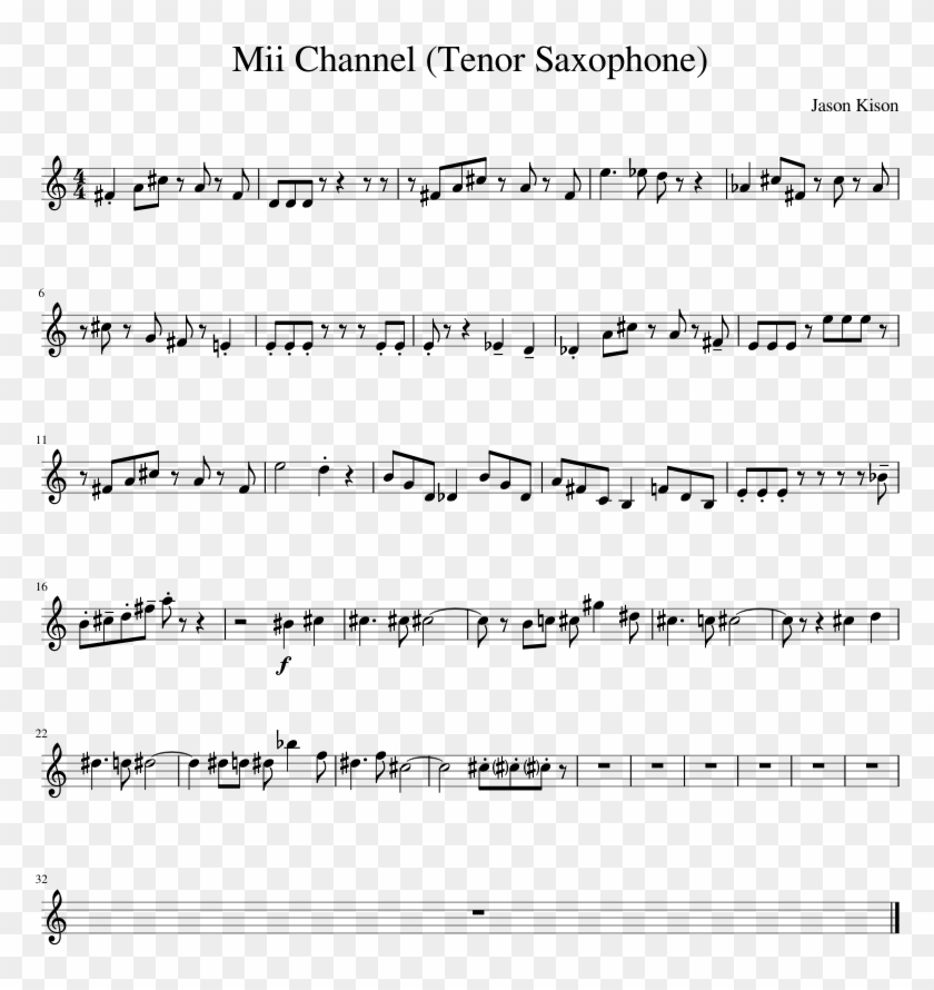 Mii Channel Tenor Saxophone Sheet Music For Piano Download
