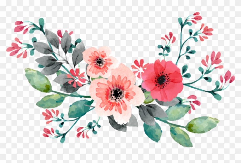 Pink Flowers Flower Border Png 1024 Watercolour Flower Vintage Png