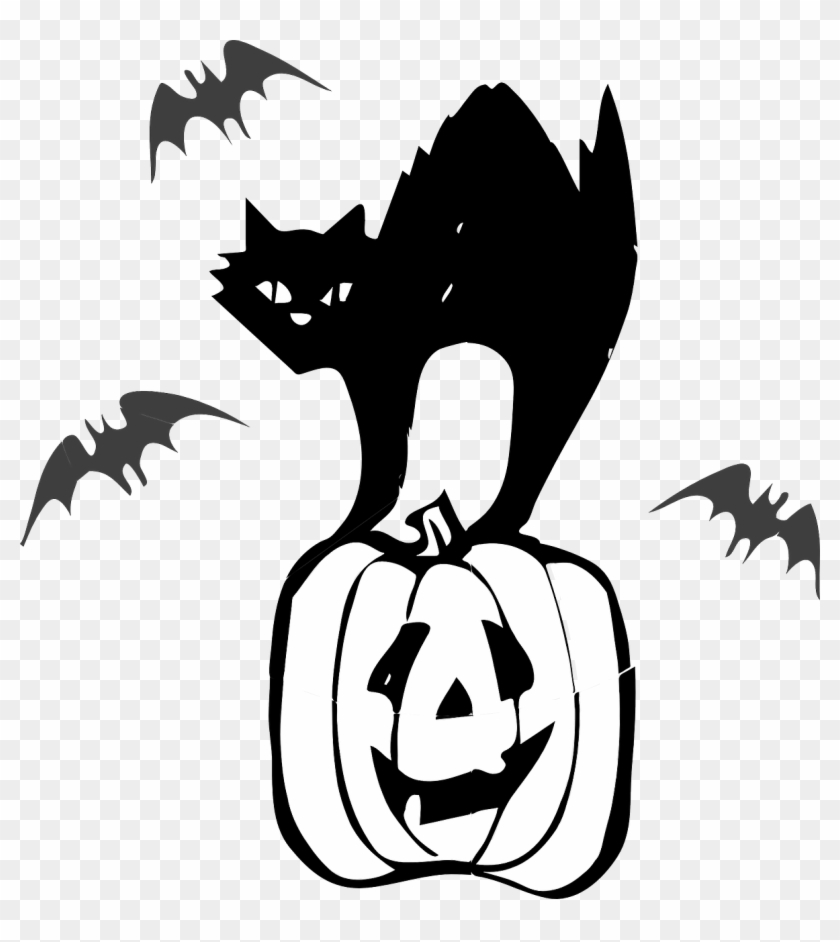 Halloween Pumpkin Clipart Black And White.Halloween Black Cat Vector Free Png Transparent Image