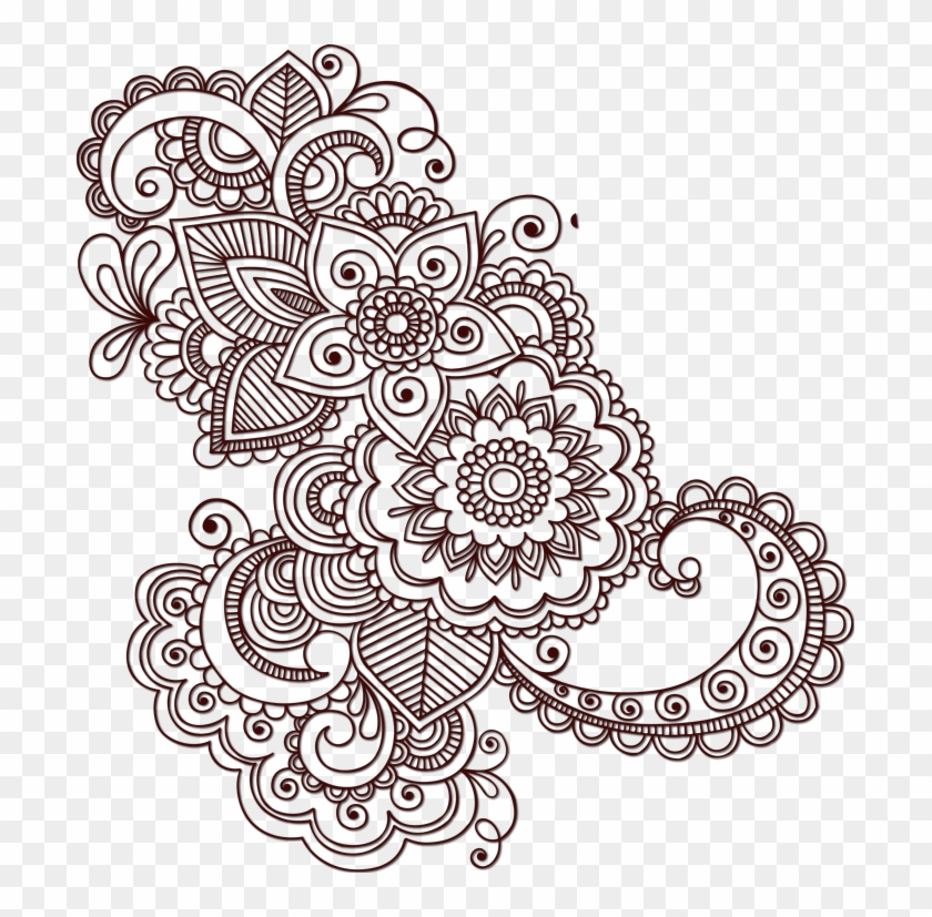 Henna Flower Clipart - Paisley Pattern Tattoo Designs, HD