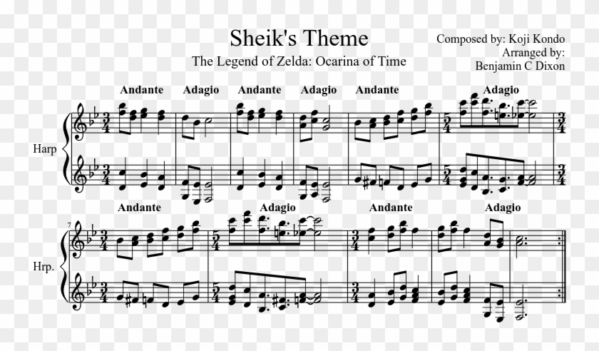 Sheik's Theme - Spirit Tracks Sacred Duet Sheet Music, HD
