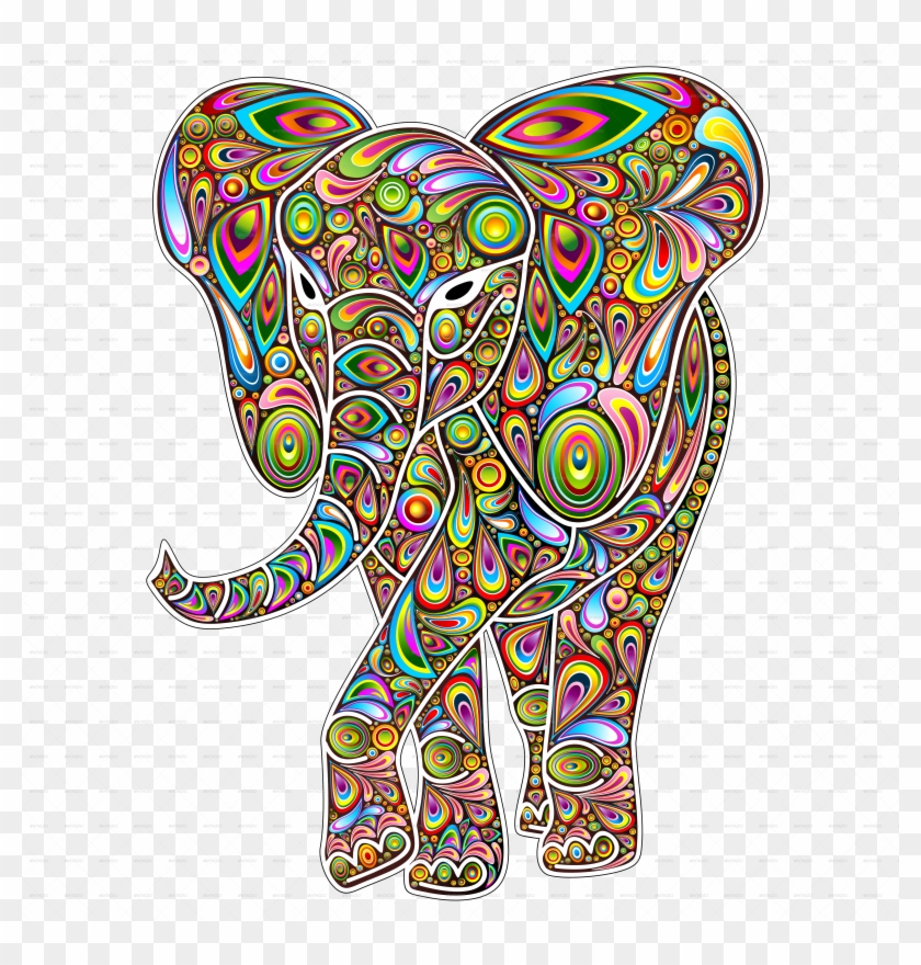 Elephant Psychedelic Design By Bluedarkat Graphicriver - Pop