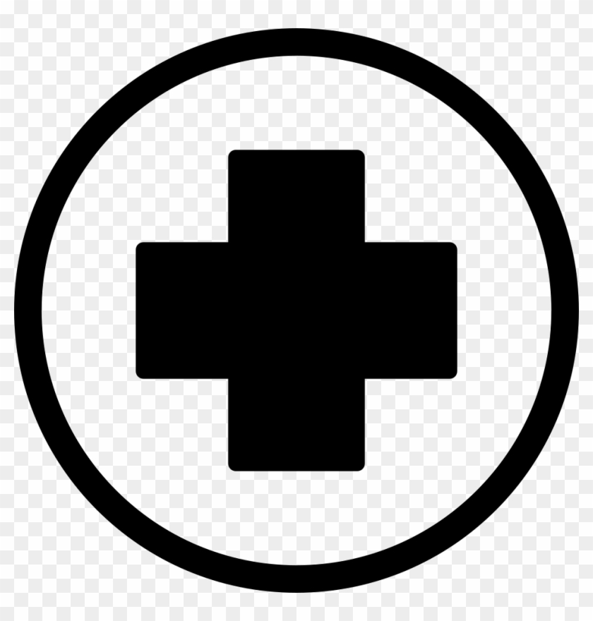 First Aid Cross In Black Inside A Circle Icon Free