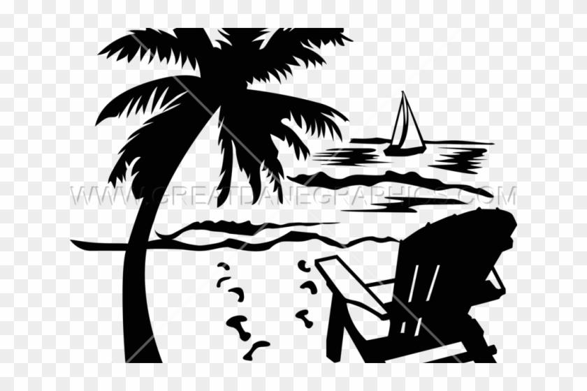 Palm Tree Clipart Beach Scene - Free Beach Chair Clipart, HD ...