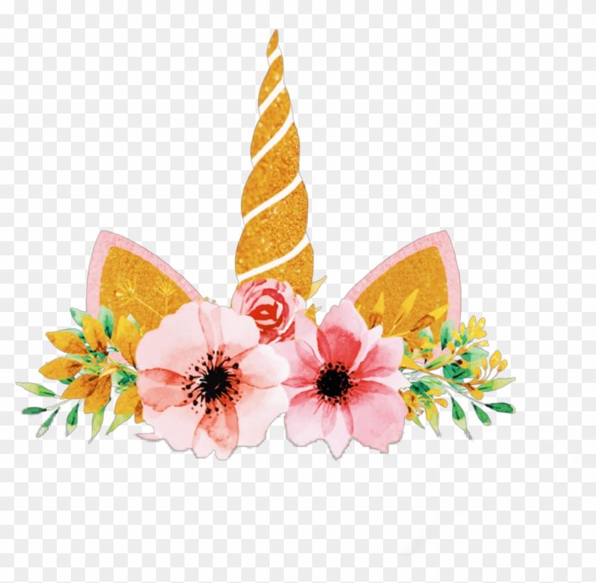 Flower crown unicorn. Gold sparkle png vectors