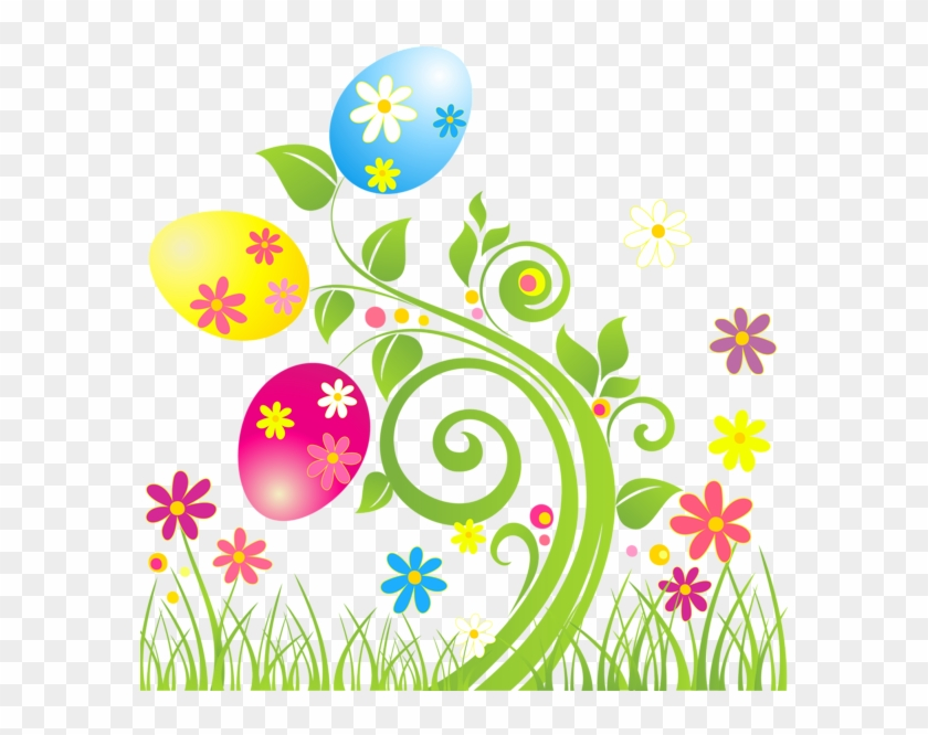 Easter transparent background. Egg decoration with flowers
