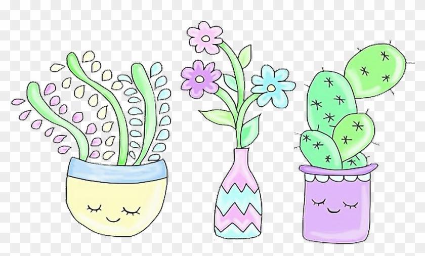Cactus aesthetic. Clipart plants kawaii png