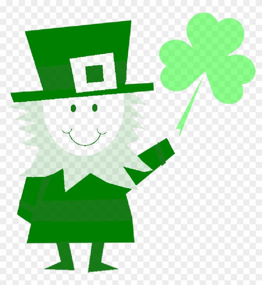 March shamrock. Man character luck holiday