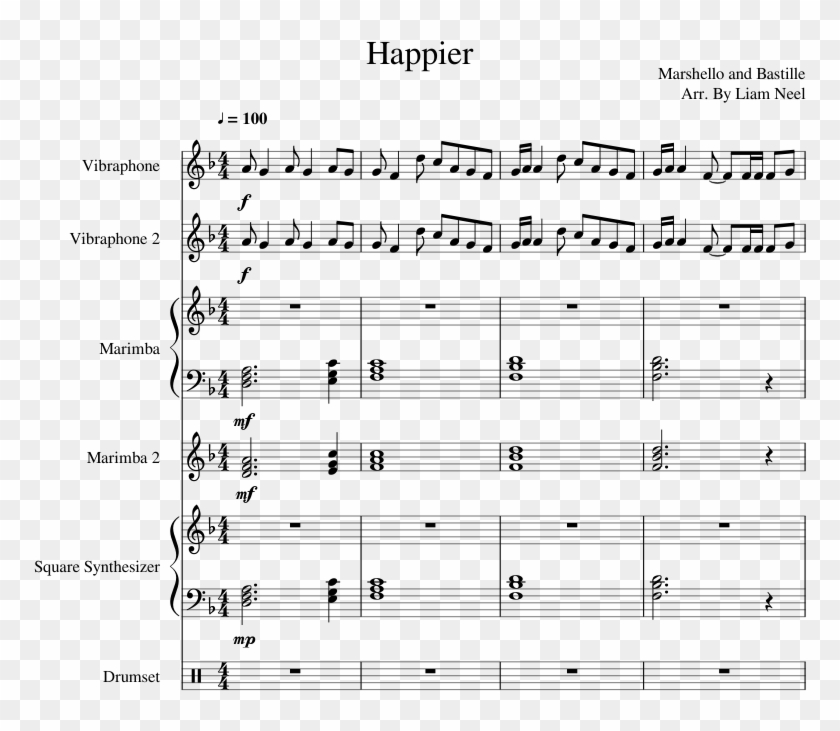 Happier- Marshmello - Happier Drum Sheet Music, HD Png