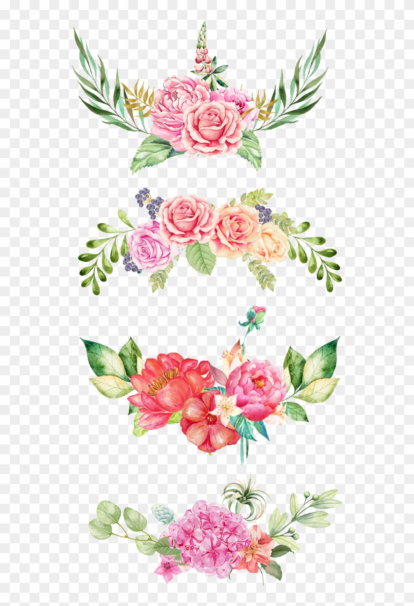 Watercolor Flowers Border The Bottom Pink Flowers Watercolor